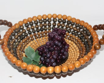 Mid-Century Beaded Basket/Bowl With Handles