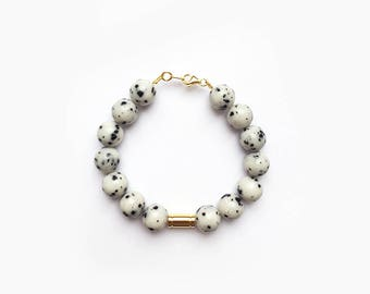 Dalmatian Jasper bracelet natural white 10 mm