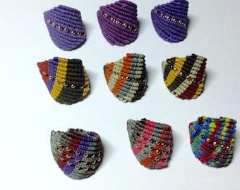 Handmade macrame rings many colors