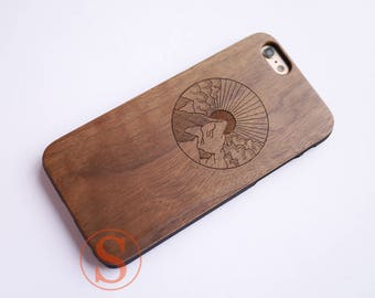 Wood phone case, Wood iPhone 7 case, iPhone 6 case, iPhone 6s plus case, iPhone 7 Plus case, Real wood Laser Engraved, Japanese Art, KC-32