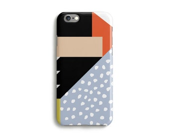 Mixed Graphic Print iPhone 7 Case, Polka Dots Geometric 6s 6 Plus 6s Plus 5s 5c and 4s Case Samsung Galaxy S3 S4 S5 S6 S6 Edge - Blue