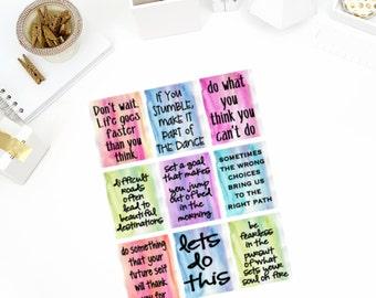 Watercolor Life Quotes #2 Stickers! Perfect for your Erin Condren Life Planner, calendar, Paper Plum, Filofax!