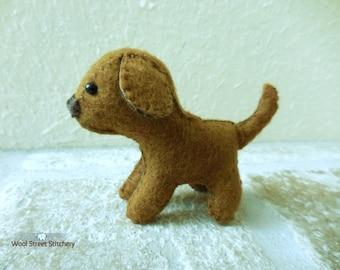 Felt stuffed puppy, small handmade dog, soft toy, felt stuffed animal, dog stuffed animal
