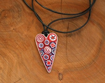 Heart Mosaic Pendant, Stained Glass Pendant, Wearable Art