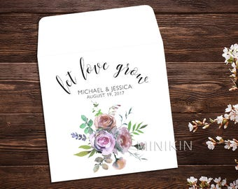 Seed Packet Favor, Seed Packet Envelopes, Let Love Grow, Watercolor Wildflowers, White Wedding Seed Packet, Wedding Favor, Floral x 25