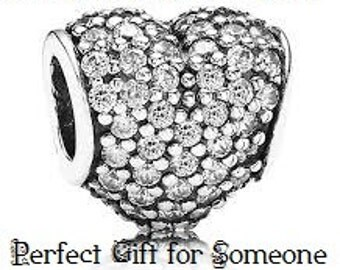 """European Charm CRYSTAL PAVE HEART Silver """"Perfect Gift for That Someone Special"""" Bead / Large Hole / Pandora / European / Bracelets"""