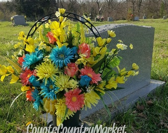 Flowers For Grave-Grave Decoration-Cemetery Flowers-Memorial Flowers-Cemetery Basket-Tombstone Flowers-Flowers For Cemetery-Memorial Basket