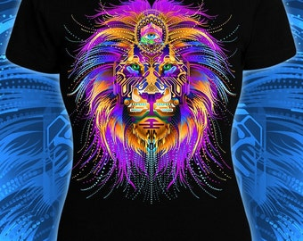 Fractal Lion - women's black tee glowing under UV black light rave festival t-shirt bright colorful goa lsd print animal hippie kind