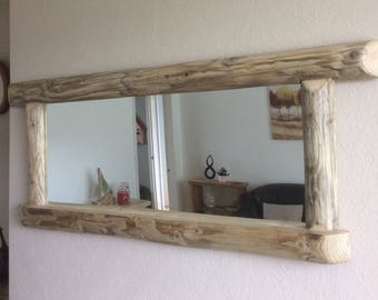Large Driftwood mirror . Rustic farmhouse country style  138 x 56 cms