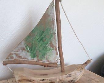 Driftwood sail boat , yacht , ship
