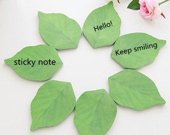 50sheets/Pack Creative Green Leaves Memo Sticker Sticky Notes Message Note Scratch Pads
