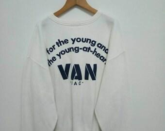 Vintage Van Jac For The Young And The Young At Heart Sweatshirt Big Logo Jumper/Van Jac Crewneck