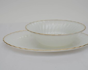 Fire King by Anchor Hocking Gold Rimmed Serving Set