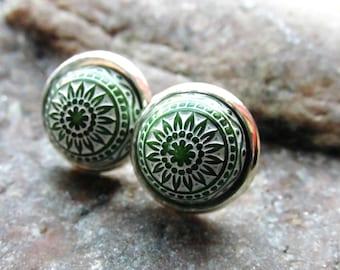 Marrakech earrings cabochon mosaic white green