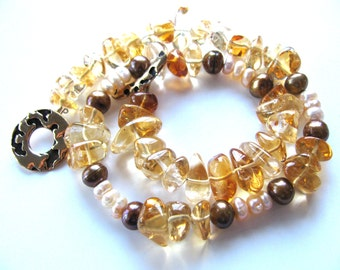 Necklace, Citrine nuggets, Fresh Water Pearls, 15 and 1 half inch, bronze toggle B-1587