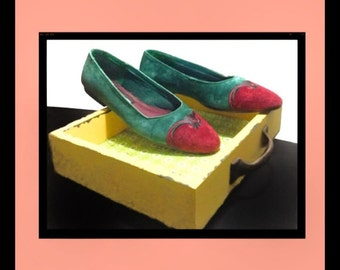 "1980s Green & Maroon ""The Leather Company"" Flats Size 7.5 (fits as 7) Ballet Flats 