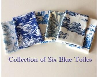 Toile de Jouy Collection of Six Blues