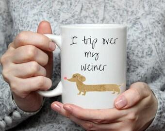 Weiner dog, weiner dog mug, dog coffee mug, coffee mug, dachsaund coffee mug, funny coffee mug, coffee