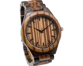Wooden Watch Engraved Black & Zebra / Personalized Men Wood Watch 5th Anniversary Birthday Wedding Graduation Fathers Day Groomsmen Gift