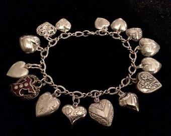 Vintage Puffy Heart Charm Bracelet