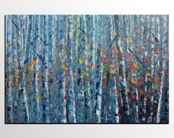 Birch Tree Art, Original Painting, Oil Painting, Canvas Painting, Wall Art, Abstract Art, Landscape Painting, Large Art, Abstract Painting