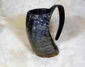 Beer mug, tankard made from horn, best when full