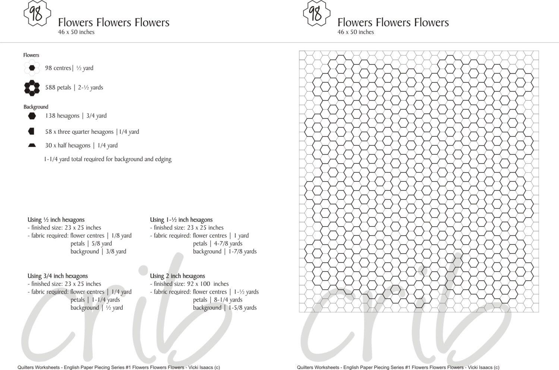 EPP Hexagon Flower Worksheet 1 Flowers Flowers Flowers – Hexagon Worksheet