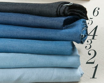 Six colors: Cotton polyester fabric, blue hue denim fabric, retro style, six solid colors, sew for top, dress, pants, craft by the yard