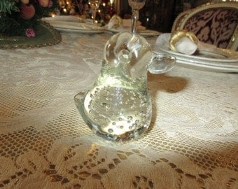 DUCK ART GLASS Paperweight with Bubbles
