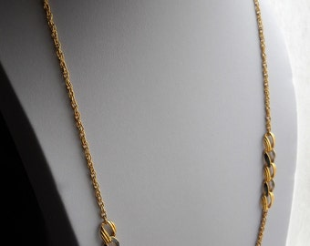 70's Austrian Necklace. Gold Tone Chain Necklace. Two symmetrical set of five links of which two hand-painted  black enamel. Vintage Jewelry