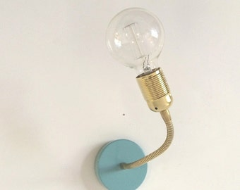 Adjustable brass light fixture for edison bulb, FREE SHIPPING,wall lamp, wall light, wall sconce, mint and brass edison  bulb, reading light
