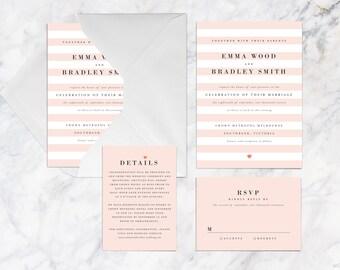 Printable Wedding Invitation Set, Salmon Baby Pastel Pink Stripes with Heart Love Printable Wedding Invitation Set