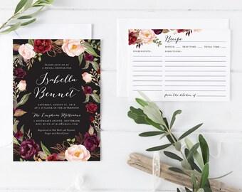 Printable Bridal Shower Card with Matching Recipe Card, Dark Maroon Wine Pink Bohemian Flower Bridal Shower Invitation