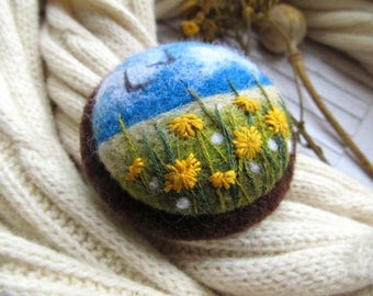 Embroidery gift ideas for mum Yellow Flower brooch sister gift Miniatures art blossom jewelry Dress jewelry Unusual jewelry sister gift