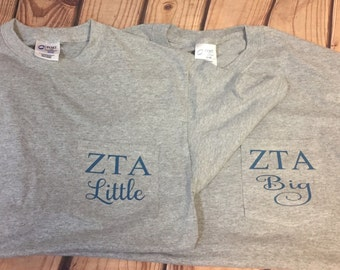 Sorority Big Sister & Little Sister Pocket T Shirts - ZTA big and Little shirts