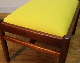 Vintage stool by A Younger with yellow Wool Upholstery.