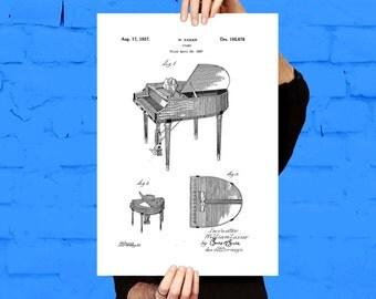 Piano Patent, Piano Poster, Piano Print, Piano Art, Piano Decor, Piano Blueprint, Piano Wall Art
