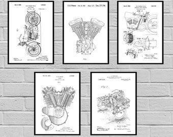 Harley Davidson Patent Set of 5 -motorcycle prints - Harley Poster - Harley Davidson Motorcycle - Harley Engine - Harley - Motorcycle