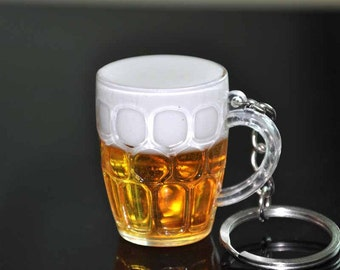 Real Looking Beer Mugs Or Beer Glasses  Key Chain  Made Out Of Resin