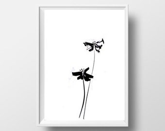Flowers simple painting black white sumi e minimalist ink drawing print flower wall art Abstract lfloral home decor poster 4x6 5x7 decor
