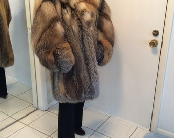 Red fox fur coat | Etsy