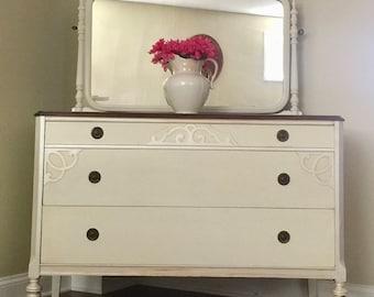 Vintage dresser/dresser and mirror/bedroom furniture/1930's dresser/Updated beauty/dresser and mirror/hand painted/vintage furniture