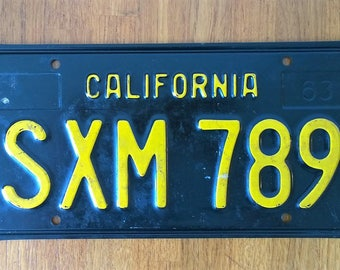 Iconic Vintage 1963 California License Plate in Excellent Condition