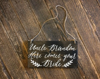 Personalized Here Comes The Bride Rustic Wooden Wedding Sign
