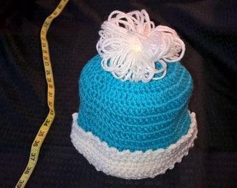 Handmade crochet turquoise blue and white winter hat