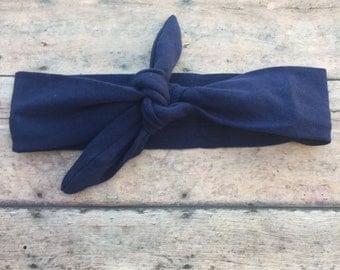 Navy Headband - Top Knot headband - Navy - Baby Girl Headband - Baby Tie Knot - Head Wrap - Turban Headband - Fabric Headband - baby girl