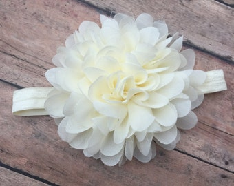 Ivory Flower - Headband - Ivory Flower Clip - Elastic Headband - Ivory Headband - Flower girl Headband - baby headband - newborn girl