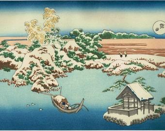 "Japanese Ukiyo-e Woodblock print, Katsushika Hokusai, ""Snow on the Sumida River, from the series Snow, Moon and Flowers"""