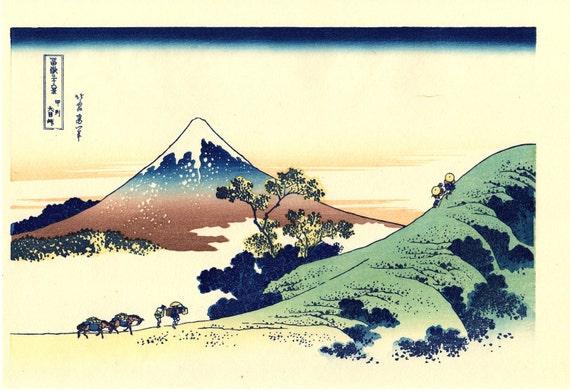 "Japanese Ukiyo-e Woodblock print, Katsushika Hokusai, ""Inume Pass, Kōshū, from the series Thirty-six Views of Mount Fuji"""