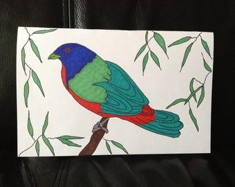 Painted Bunting Handmade Greeting Card